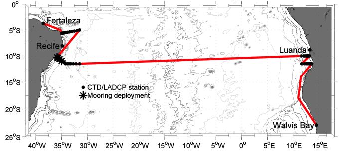 Derrota do cruzeiro Meteor M98, entre Fortaleza (Brasil) e Walvis Bay (Namíbia). Período: 30/06-28/07.